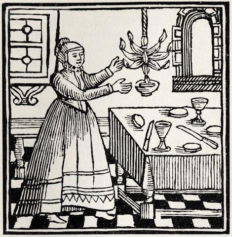 Еврейская женщина зажигает свечу в праздник отдохновения, гравюра
