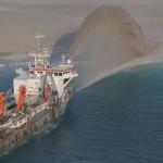 Строительство островов, песочная насыпь