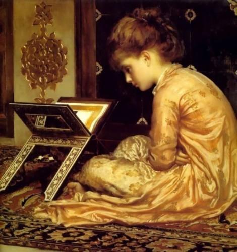 Ф. Лейтон. Чтение книги. 1877