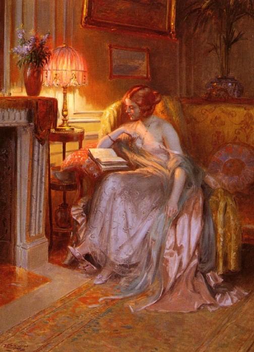 Д. Анжольрас. Чтение при свете лампы