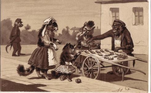 Старинные немецкие открытки с кошками (18)