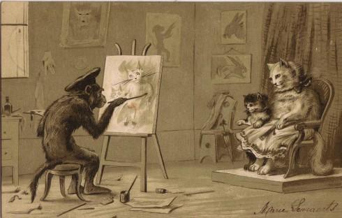Старинные немецкие открытки с кошками (11)