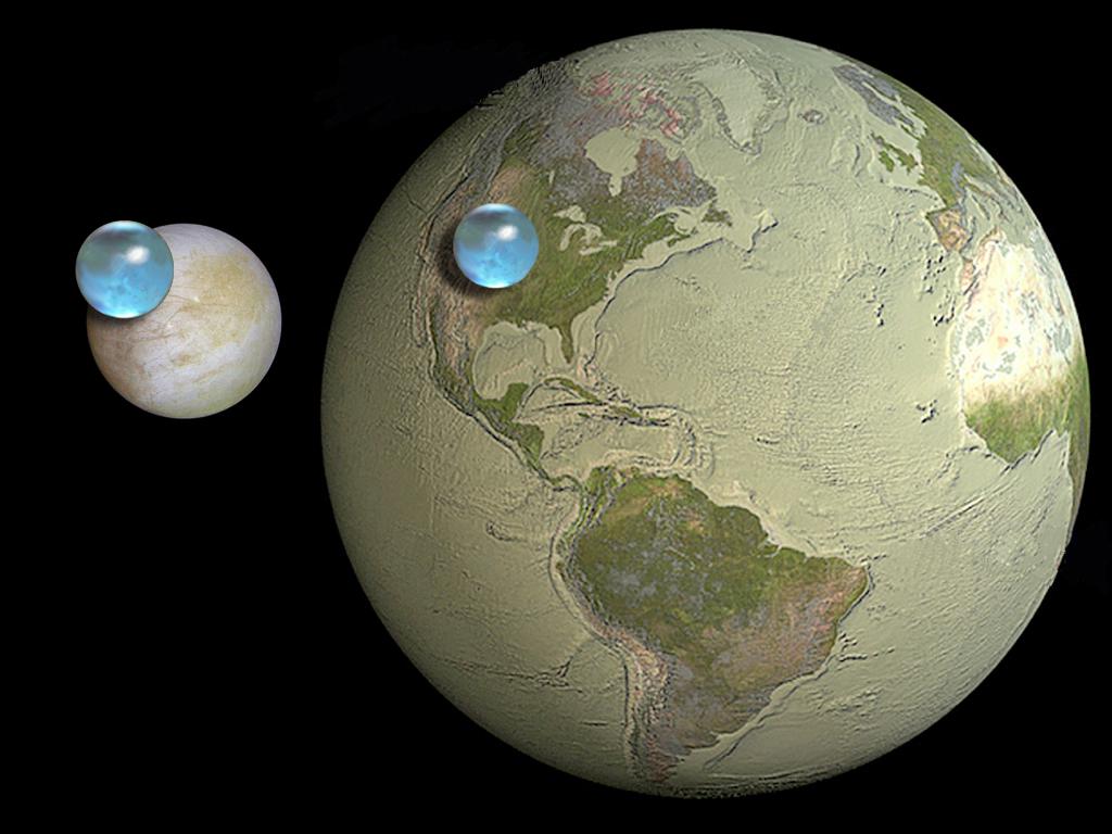 Сравнение количества воды на Земле и Европе спутнике Юпитера